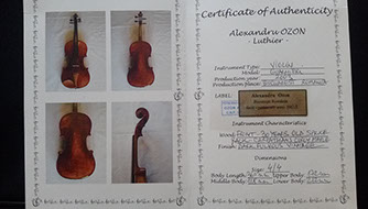 guarneri violins authenticity certificate Flocello Hamilton